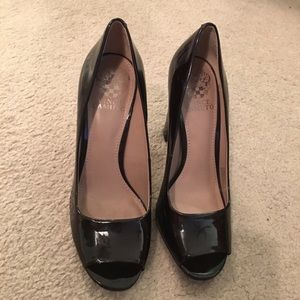 Vince Camuto Patent Leather Black Chunky Heel